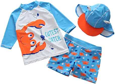 8e604b757e Toddler Baby Boy Swimsuit Two Pieces Long Sleeve Rashguard Sun Protective  Swimwear with Hat 1-