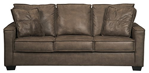 - Ashley Furniture Signature Design - Terrington Queen Sofa Sleeper - Faux Leather - Harness