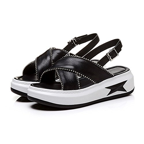 o Adulto Wedge ora Negro 0cm Tama Heightening Cuero Blanco Se 25 Altos 5cm 22 Tacones Ligero Verano a Heel BqxYfTw5