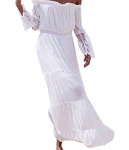 Coolred-femmes Dentelle Stiching Couleur Pure Une Épaule Mot Pleine Longueur Robe Blanche