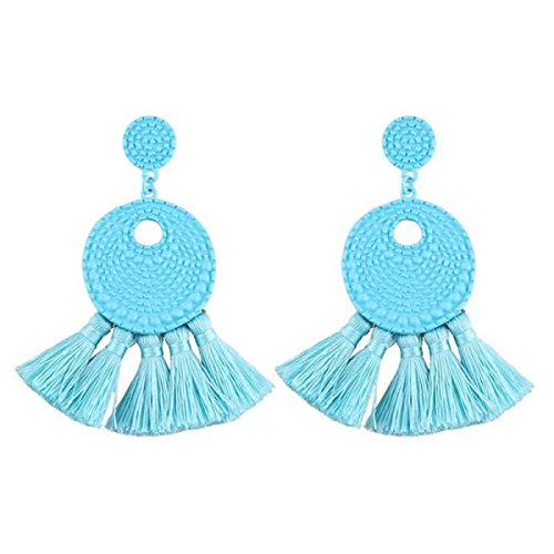 MELLOW SHOP Fan Shape Layers Tassel Earrings Femme Cotton Dangle Earrings Women Ethnic Fringe