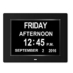 Memory Loss Digital Calendar Day Clock with Extra Large Non-Abbreviated Day & Month Perfect for Seniors (Black)