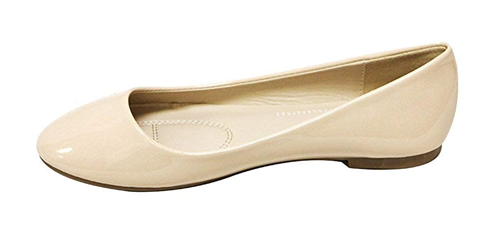 Bella Marie Stacy-12 Womens Round Toe Slip On Ballet Flat Shoes Black