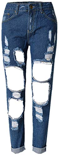 Donna Denim Elastici A Pantaloni Alta Collant Casual Vita Holes Normale Dunkelblau Jeans Giovane Cher Stretch Jane d6wgxgn