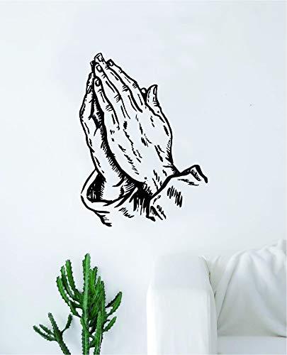 (Praying Hands V2 Wall Decal Sticker Vinyl Art Bedroom Living Room Decor Decoration Teen Quote Inspirational Boy Girl Baby Nursery Tattoo Music Rap Hip Hop Pray Church Religious 6 God Jesus)