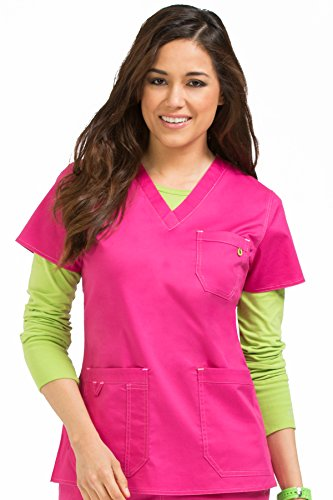 Med Couture Signature Women's V-Neck 3 Pocket Scrub Top, Pink-A-Licious, X-Small from Med Couture