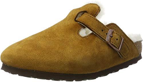 Birkenstock Boston Fur 1001141 Suede Unisex Sandals - Mink - N