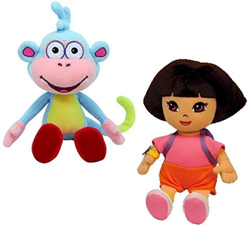 Ty Beanie Baby - Dora the Explorer and her Monkey Boots Plush Pair of Cuddly Collectable Toys by Dora the - Dora The Explorer Beanie
