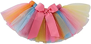 Rainbow Tulle Skirt Pageant Party Dress Clothes 2Pcs Tutu Set Birthday Outfit Toddler Little Girls Summer Casual Tops