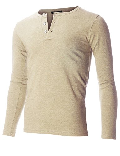 FLATSEVEN Men's Slim Fit Casual Long Sleeve Henley T Shirt (THL100) Beige, L