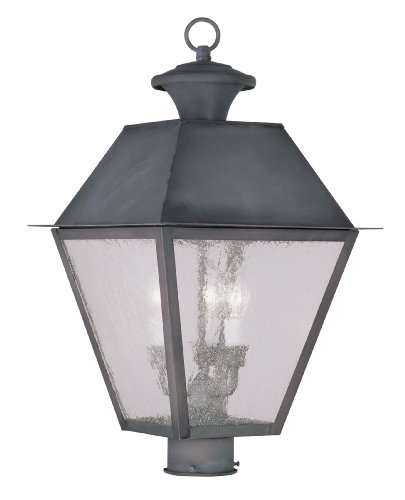 Livex Lighting 2169-61 Mansfield 3-Light Outdoor Post Head, (Post Mounted Charcoal)