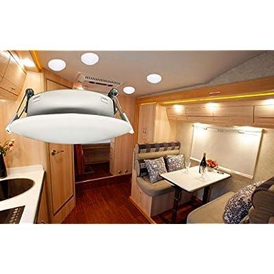Risestar LED RV Cabinet Light 4.5Inch DC12V Ceiling Down Light Interior Lighting for RV Camper Caravan Trailer Boat, Warm White (Pack of 2): Automotive