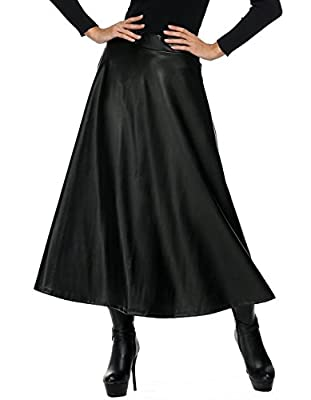 Elever Womens Leather Skirt, Faux Leather High Waist A-Line Pleated Swing Full Maxi/Midi Skirt