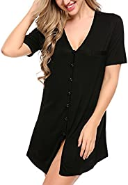 Avidlove Women Sexy Boyfriend Sleep Shirt Short Sleeve Nightshirts Sleepwear S-XXL