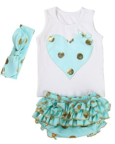 Messy Code Lovely Design Posh Gold Polka Dots Baby Girls Outfits,X-Small / 0-6Months,Mint (Pretty Girl Outfits)