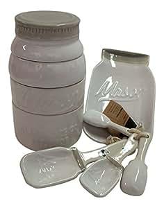 White Mason Jar Ceramic 9 Piece Kitchenware Set