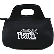 Teacher Peach Teach It Changes Everything Neoprene Zippered Lunch Bag Black