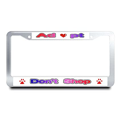 Amazon.com: Nuoyizo Adopt Don\'t Shop Stainless Steel License Plate ...