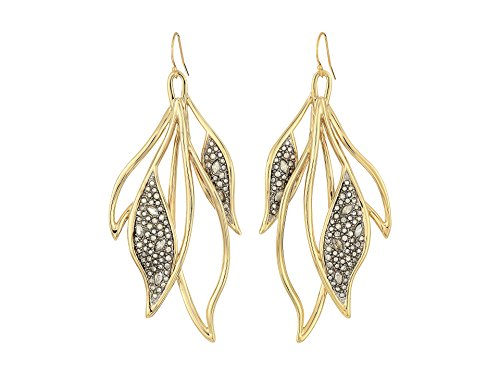 (Alexis Bittar Women's Crystal Encrusted Feather Wire Earrings 10k Gold/Antique Rhodium Accents One Size )