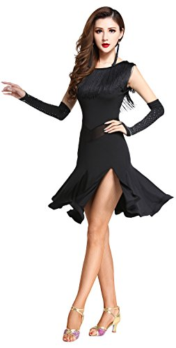 Z&X Dancewear Women's Tassel Round Neck Sleeveless Leg Split Latin Dance Dress One Size Black