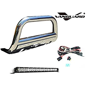 VANGUARD VGUBG-1304-1171BK-20LED for 2008 2019 Nissan Rogue Bumper Guard Black Bull Bar with Skid Plate and 20 inch Light Bar