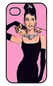 HF New Audrey Hepburn with Cat Pink For SamSung Galaxy S6 Phone Case Cover Hard Casing