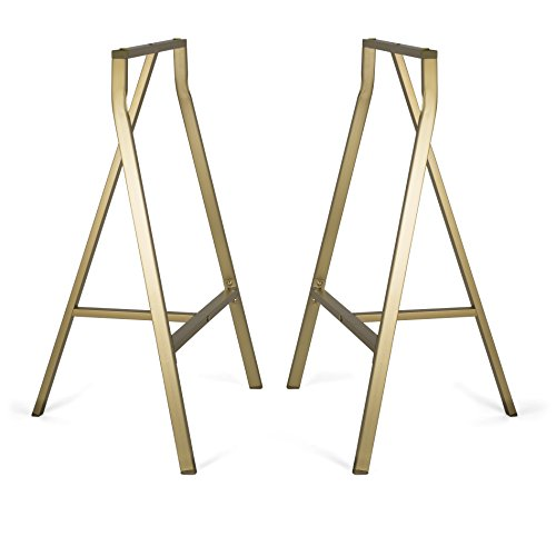 Sturdy Crosscut Trestle Table Legs ,28 Inch Perfect for Home Office Desk , Work Station or Table ,Pack of 2 (Gold With NO Storage) (Sawhorse Legs)