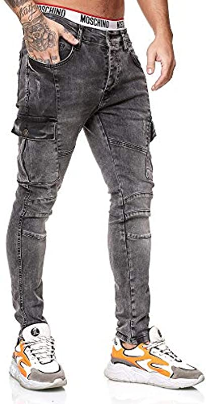 OneRedox Designerskie dżinsy męskie spodnie cargo Regular Skinny Fit Destroyed Stretch model 8019: Odzież