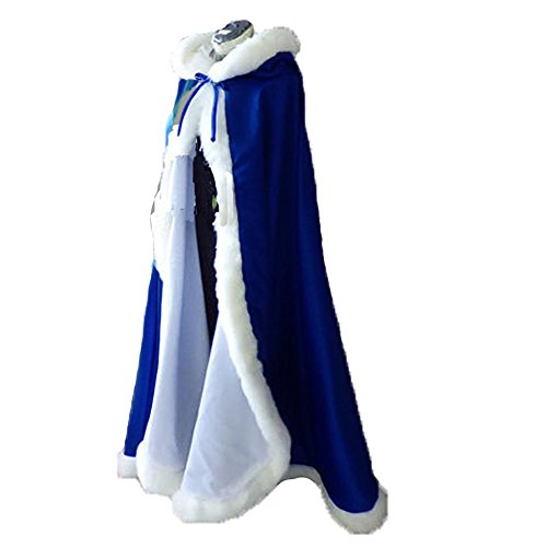 (Royal Blue Long Wedding Cloak with Hooded Cape Winter Fur Trim and Hand Muff 55)