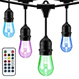 Mpow RGB Outdoor String Lights, Color and Brightness Adjustable, 49Ft String Lights with 24 Sockets, Waterproof Commercial Grade Heavy Duty String Light for Patio Porch Garden Café
