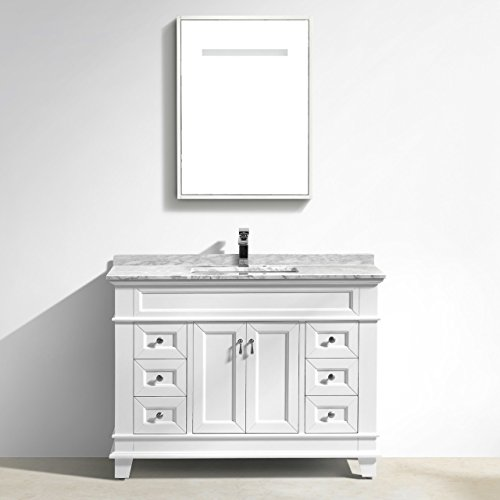 Marco Single Bathroom Vanity With Carrara Marble Top (48'', White)