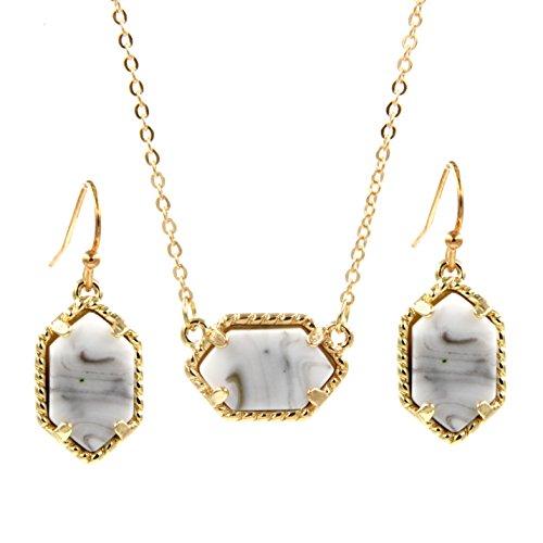 Framed White Gold Necklace - YUJIAXU Framed Oval Faux Druzy Chic Choker Necklace + Drop Earrings Jewelry Set Women's Super (Gold White)