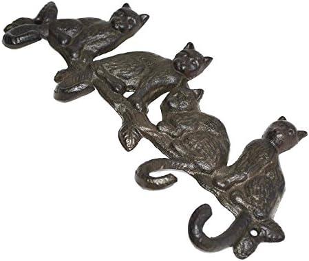Amazon.com: Hierro rústico Hierro 4 gatos Animal ganchos de ...