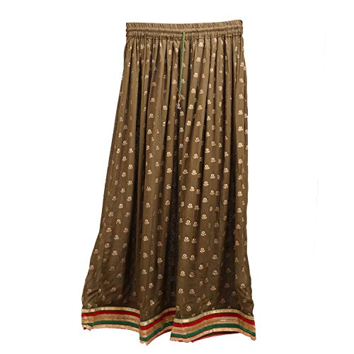 Indian Party/Casual Wear Flared Long Skirt,Leaf Design Printed Long Skirt (Mehandi Green)