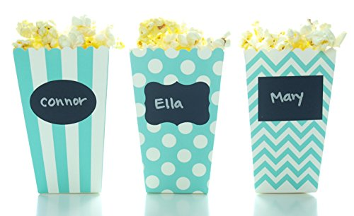 Dots Small Jug (Aqua Blue Green Popcorn Boxes & Black Label Chalkboard Vinyl Stickers (36 Pack) - Party Favors & Wedding Candy Boxes, Use Decal Tag to Customize Party Favors, Small Popcorn Tub)