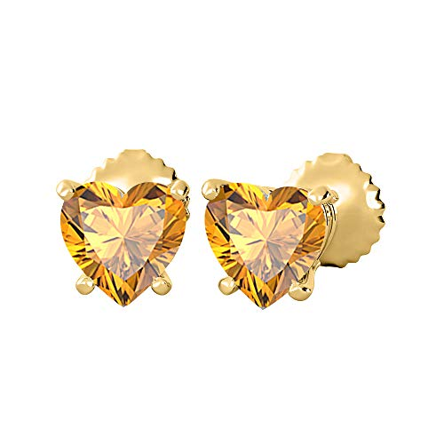 Gold & Diamonds Jewellery Lovely Heart Shaped Bazel (7MM) Orange Citrine Solitaire Stud Earrings 14K Yellow Gold Over .925 Sterling Silver For Women's