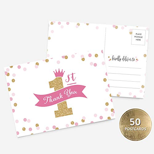 50 4x6 Pink and Gold Glitter First Birthday Thank You Postcards Bulk Set, Gold Glitter and Confetti Baby 1st Birthday Pink Thank You Note Card Stationery for First Birthday ()