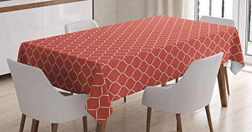 Ambesonne Modern Tablecloth, Vertical Wavy Lines Forming Elliptic Shapes Curvy Oval Modern Simple Pattern, Dining Room Kitchen Rectangular Table Cover, 60 W X 84 L Inches, Coral Ivory ()