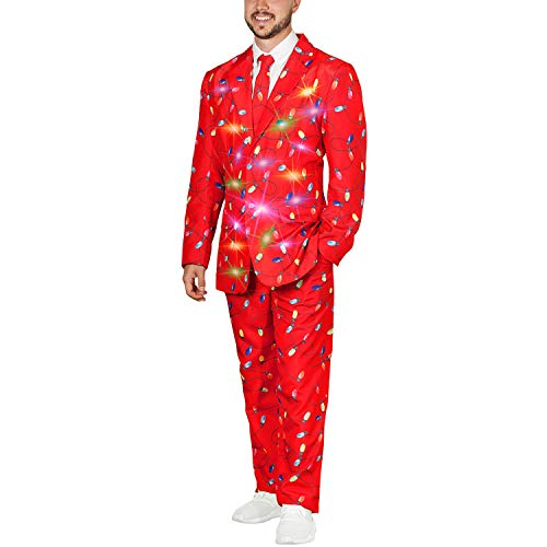 Life of the Party Men's Ugly 3 Piece LED Light Up Christmas Sweater Suit (Christmas Lights Red, Medium (38-40))]()