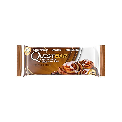 Quest Nutrition Protein Bar, Cinnamon Roll, 20g Protein, 4g Net Carbs, 180 Cals, High Protein Bars, Low Carb Bars, Gluten Free, Soy Free, 2.1 oz Bar, 12 Count Carb Control 12 Bars