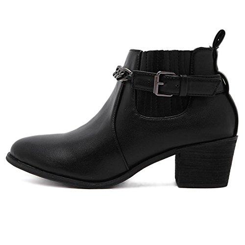 LvYuan-mxx Las mujeres ponen en cortocircuito los cargadores / la caída y el invierno / PU simple retro / punteó la cadena de la correa del dedo del pie / talón grueso / oficina y carrera / vestido /  37-BLACK