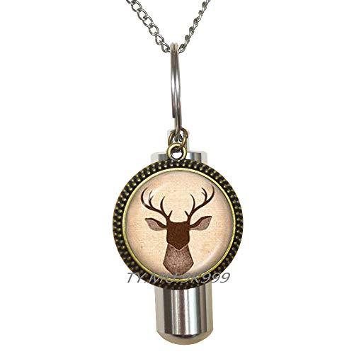 Yao0dianxku Deer Cremation URN Necklace Deer URN Deer Jewelry Animal Art Animal Cremation URN Necklace Animal URN Antler URN Elk Cremation URN Necklace Wildlife Photo URN Woods.Y124