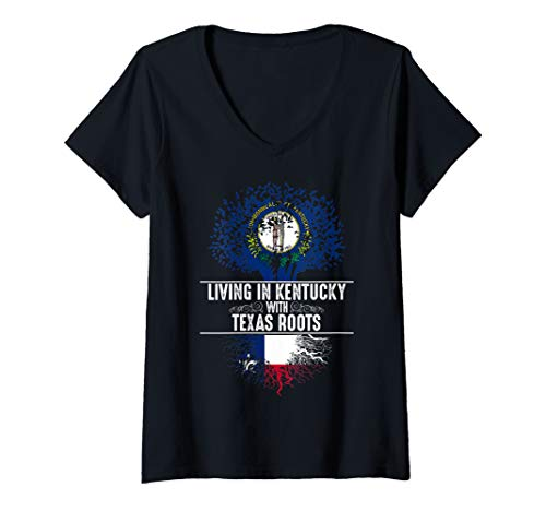 Womens Kentucky Home Texas Roots State Tree Flag Art Love Gift V-Neck T-Shirt