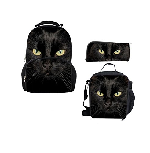 Bigcardesigns 3D Black Cat School Bag Backpack With Lunch bag Pencil Case