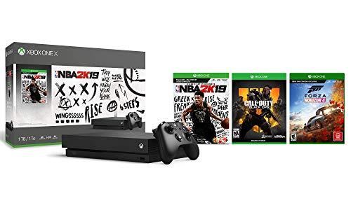 Xbox One X 4K HDR Enhanced Forza COD 2K19 Bundle: Foza Horizon 4, Call Duty Black Ops 4, NBA 2K19, Xbox One X 1TB Console – Black