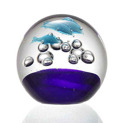 Anecdotal Aardvark Art Glass Jumping Blue Dolphin Trio Sphere & Paperweight Glass Ball