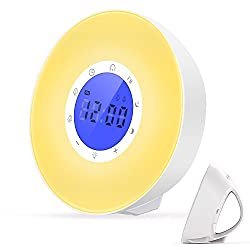 Mosche Sunrise Alarm Clock, Dual-Alarm Digital Clock, Wake Up Light with 6 Nature Sounds, FM Radio and Touch Control (New)