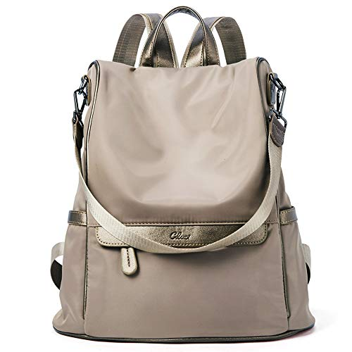 - Women Backpack Purse Nylon Fashion Covertible Travel Large Designer Ladies Shoulder Bag Gold Brown
