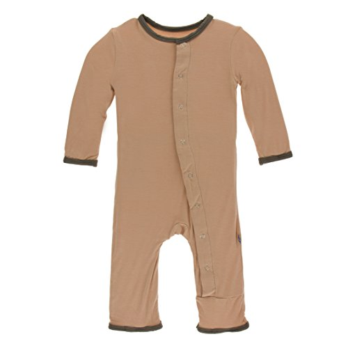Kickee Pants Little Boys Solid Coverall with Snaps - Suede with Falcon, 0-3 Months