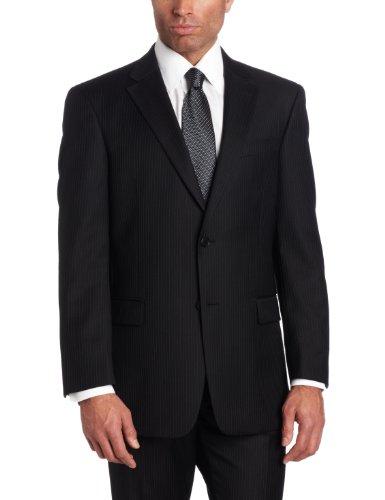 Tommy Hilfiger Men's 2 Button Side Vent Trim Fit Stripe Suit with Flat Front Pant